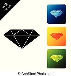 buttons., set, gioielleria, colorito, icone, diamante, isolato, illustrazione, simbolo., fondo., vettore, quadrato, bianco, stone., gemma, icona