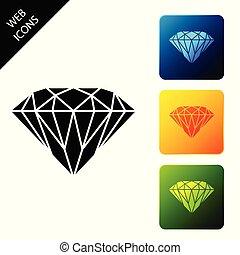 buttons., set, gioielleria, colorito, icone, isolated., diamante, simbolo., illustrazione, vettore, quadrato, stone., gemma, icona