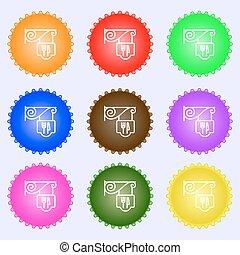buttons., set, high-quality, ristorante, grande, segno., colorito, vettore, diverso, icona