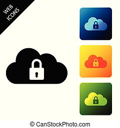 buttons., set, kleurrijke, gegevensverwerking, bescherming, slot, concept., iconen, illustratie, isolated., vector, plein, pictogram, veiligheid, wolk, veiligheid