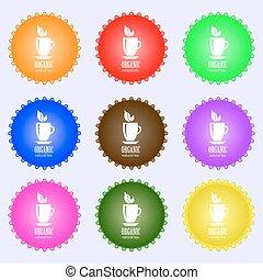 buttons., set, naturale, grande, segno., colorito, vettore, organico, tè, diverso, high-quality, icona