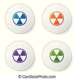 buttons., set, radioactieve kleur, teken., straling, vrijstaand, gevaar, symbool., achtergrond., vector, illustratie, vergiftig, witte cirkel, pictogram