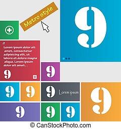 buttons., set, segno., numero, colorato, vettore, nove,...