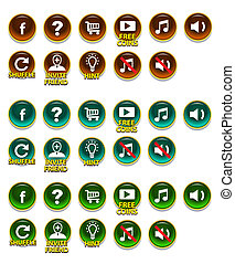 Buttons set with icons. Vector illustration, GUI elements for mobile games, video games.