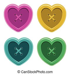 Buttons sewing silhouette hearts set vintage style  isolated object