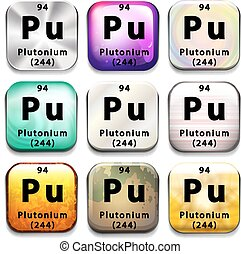 Buttons showing Plutonium and its abbreviation on a white background