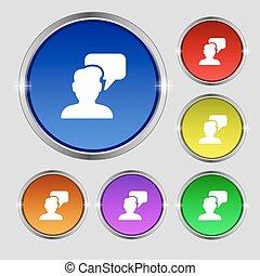 buttons., signe., gens, symbole, conversation, clair, vecteur, coloré, rond, icône