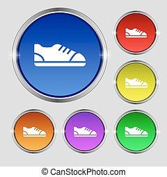 buttons., signe., symbole, clair, vecteur, chaussure, coloré, rond, icône