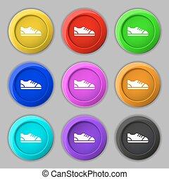 buttons., signe., symbole, vecteur, neuf, chaussure, coloré, rond, icône