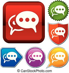 buttons., talk., glänsande, serie, sätta, bubbla, ikon