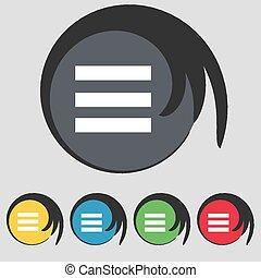 buttons., teken., gekleurde, tekst, symbool, breedte,...
