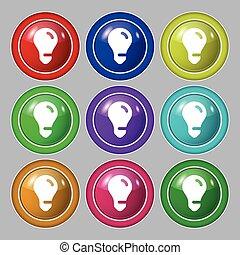 buttons., teken., licht, symbool, idee, vector, negen, kleurrijke, ronde, bol, pictogram