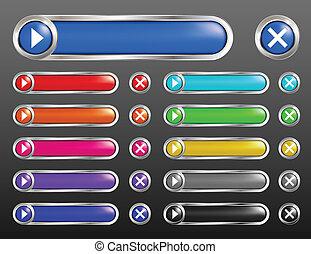 buttons., vetorial, jogo, lustroso