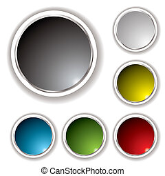 Six button set with white bevel and various colored inserts