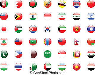 buttons with asian country flags - vector