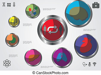 buttons with bodies and capsules in a circle