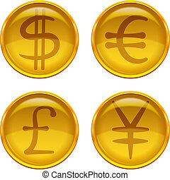Buttons with currency signs, set