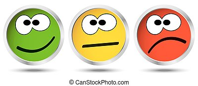 buttons with emotion faces - three buttons with happy, ...