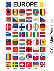 buttons with flags of Europe - set of push buttons with...