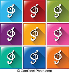 Buttons with G-clef - Illustration of the buttons with...