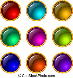 Set of web buttons with gems and golden frames. Eps10: contains transparency. Vector