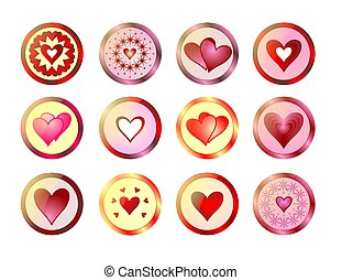 Buttons with hearts