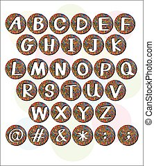 Buttons with letters of the alphabet