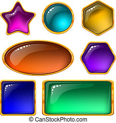 Buttons with multicolored gems, set