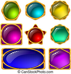 Set of web buttons with gems and golden frames, eps10, contains transparencies. Vector