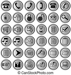 buttons with office icons - round metallic buttons with...
