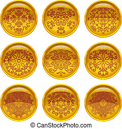 Buttons with patterns, set