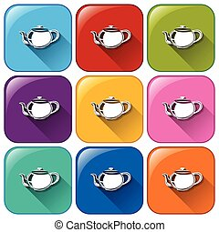 Buttons with teapots