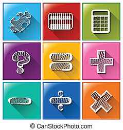 Illustration of the buttons with the different mathematical operations on a white background