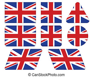 buttons with Union Jack flag