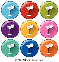 Buttons with wineglasses