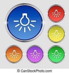buttons., zeichen., licht, symbol, hell, vektor, zwiebel, bunter , runder , ikone