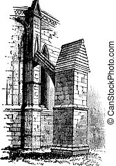 Buttress arch of Lincoln Cathedral chapter, England. Old engraving.