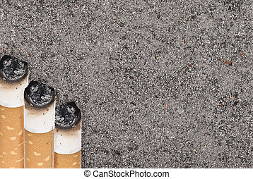 Butts against the tobacco ash