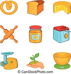 Butty icons set, cartoon style