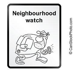 buurt, horloge, informatie, sig