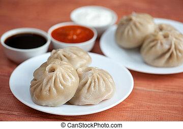 Buuza poza is a Buryat national dish, paste packet. - Buuza...