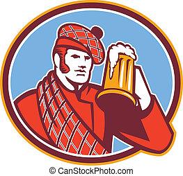 buveur, ecossais, bière, retro, grande tasse
