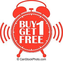 Buy 1 get 1 free red alarm clock, vector illustration