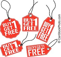 Buy 1 get 1 free red tag set, vector illustration