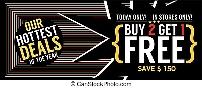 Buy 2 Get 1 Free 6250x2500 pixel Banner Vector Illustration