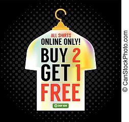 Buy 2 Get 1 Free Apparel Promotion Vector Illustration