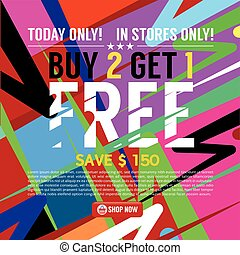Buy 2 Get 1 Free Banner Vector Illustration