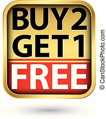 Buy 2 get 1 free golden label with red ribbon, vector illustration
