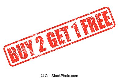 Buy 2 get 1 free red stamp text