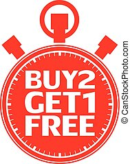 Buy 2 get 1 free red stopwatch, vector illustration